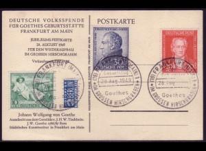 108-110 Goethe - Satz auf Karte (Tischbein) SST 28.8.49