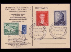 108-110 Goethe - Satz auf Karte (Lips) SST 28.8.49