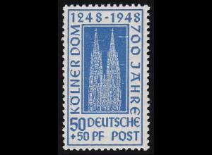 Bizone 72ZC Kölner Dom 50 Pf. dunkelultramarin **