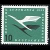 206VaIII Lufthansa 10 Pf mit PLF III unten abgeflachte Null, Feld 24, **