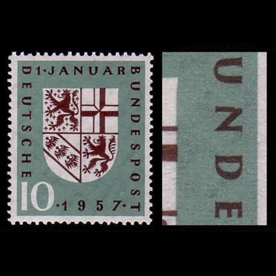 249 Saarland - mit PLF Kerbe im N von BUNDESPOST, Feld 35, **