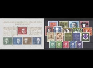 302-325 Bund Jahrgang 1959 komplett (19 Marken und Block 2), postfrisch **