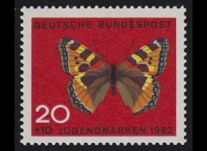 378DD Jugend 20 Pf - Doppeldruck Farbe rot; gut an den Bildecken zu erkennen **
