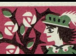 449 Wofa 20 Pf - Passerverschiebung der Farbe grün nach oben; Hut und Blätter **