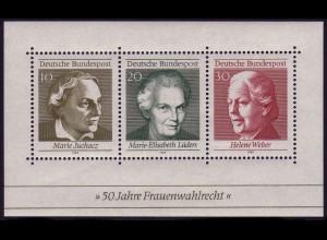 Block 5 Frauenwahlrecht 1969 - ohne Zähnungsloch rechts unten, **