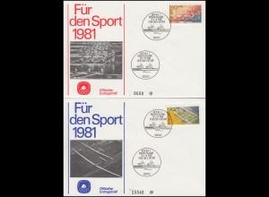 Bund 1094-1095 Sporthilfe 1981: Rudern und Segelfliegen auf 2 amtl. FDC