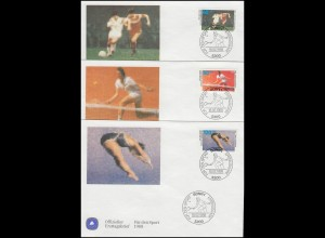 1353-1355 Fußball Tennis Kunstspringen 1988: Sporthilfe-FDC ESSt Bonn 18.2.88