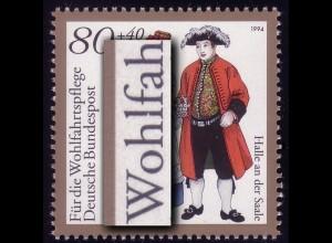 1758 Halle/Saale mit PLF Kerbe im l von Wohlfahrt-, Feld 8 **