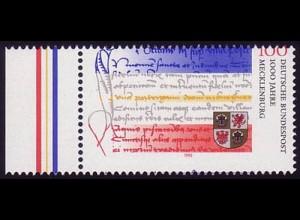 1782 Mecklenburg - Verzähnung in die Wertangabe und ins blaue Markenfeld, **