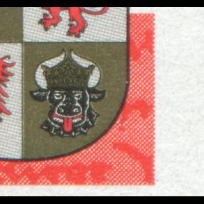 1782 Mecklenburg mit PLF: roter Fleck neben dem Wappen unten rechts, Feld 10 **