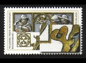 1786 Regensburg mit PLF Fleck beim unterem Giebel, Feld 6, **