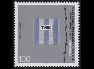 1796 Einzelmarke aus Block 32 Jubiläum 50 Jahre Gefangenenbefreiung, postfrisch