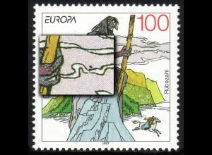 1916II Europa 100 Pf: dunkler Fleck rechts neben der Hand, Feld 4, **