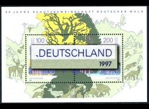 Block 38I SDW mit PLF I: blauer Fleck vor D von DEUTSCHLAND [bei der 1919], **