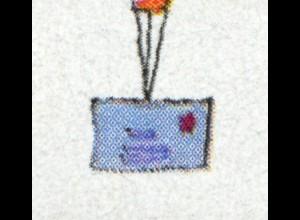 Block 40I Für uns Kinder 1997 mit PLF I durchgehend gerasterte Brieflinie **