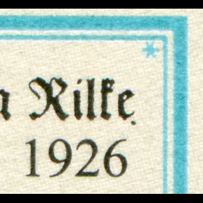2154II Rilke - PLF schwarzer Punkt rechts unten neben e von Rilke, Feld 9, **