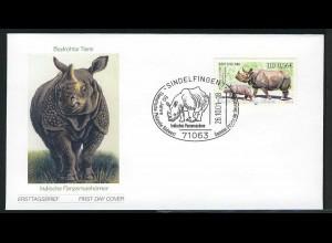 2205 Bedrohte Tierarten Nashorn SELBSTKLEBEND, FDC ESSt Sindelfingen