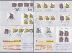 Neue Dauerserien in Euro: 9 portogerechte FDC Frauen & Sehenswürdigkeiten 2002