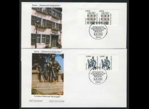 2306-2307 SWK Beethoven-Haus 1,44 und Fontane-Denkmal 2,20 - Paare FDC Bonn