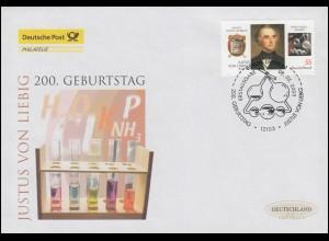 2337 Chemiker Justus von Liebig, Schmuck-FDC Deutschland exklusiv