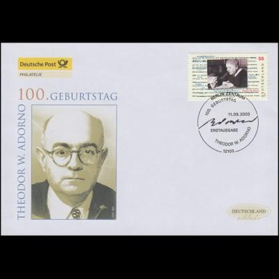 2361 Philosoph Theodor W. Adorno, Schmuck-FDC Deutschland exklusiv