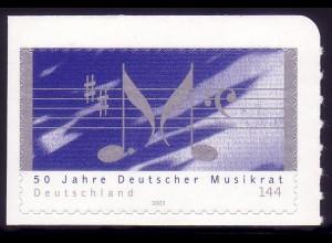 2380 Musikrat aus MH, FESTKLEBEND, mit Bestätigung der Bundesdruckei, **