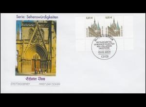 2381 SWK 0,05 Euro Erfurter Dom als UR-Paar mit PLF I auf FDC ESSt Berlin