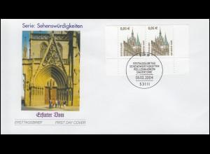 2381 SWK 0,05 Euro Erfurter Dom als UR-Paar mit PLF I auf FDC ESSt Bonn