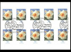 FB 1a Narzisse Folienblatt 10x2515 Nr. 1620 03781 mit Grünem Punkt, EV-O Bonn
