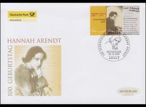 2566 Philosophin Hannah Arendt, Schmuck-FDC Deutschland exklusiv