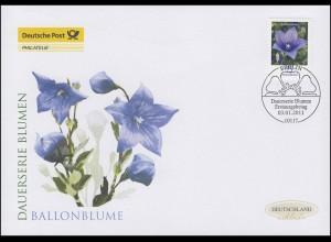 2835 Blume Ballonblume 75 Cent, Schmuck-FDC Deutschland exklusiv
