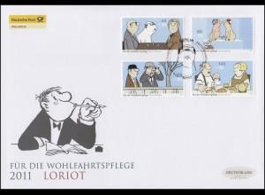 2836-2839 Wofa Motive von Loriot, Satz auf Schmuck-FDC Deutschland exklusiv
