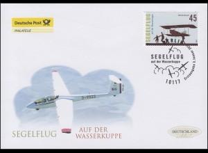 2842 Segelflug auf der Wasserkuppe, Schmuck-FDC Deutschland exklusiv