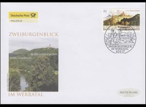 2847 Zweiburgenblick im Werratal, Schmuck-FDC Deutschland exklusiv