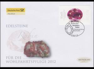 2909 Wofa Edelsteine Rubin - selbstklebend, Schmuck-FDC Deutschland exklusiv