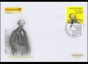 2990 Friedrich Hebbel, Schmuck-FDC Deutschland exklusiv