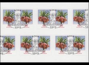 FB 35 Blume Kaiserkrone 60 Cent, Folienblatt mit 10 x 3046, EV-O Bonn
