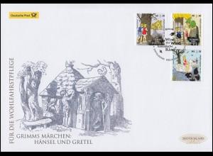 3056-3058 Grimms Märchen - Hänsel und Gretel, Schmuck-FDC Deutschland exklusiv