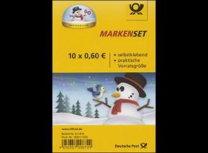 FB 41 Winter & Schneemann & Schneekugel, Folienblatt mit 10x 3113, **