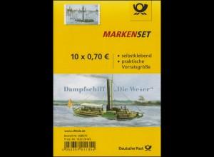 FB 62 Dampfschiff Die Weser 2017, Folienblatt mit 10x3279, **
