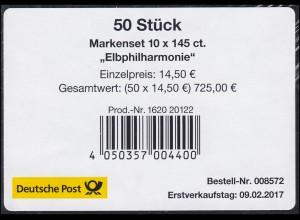 FB 63 Eröffnung der Elbphilharmonie, Folienblatt-BANDEROLE ohne DHL-Code