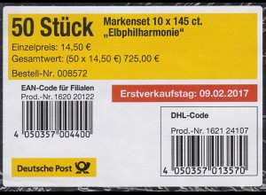 FB 63 Eröffnung der Elbphilharmonie, Folienblatt-BANDEROLE mit DHL-Code