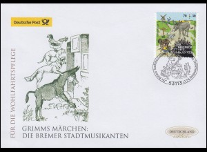 3287 Die Bremer Stadtmusikanten 70 C. selbstkl. Schmuck-FDC Deutschland exklusiv