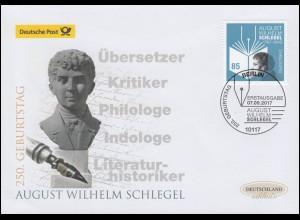 3332 August Wilhelm Schlegel, Schmuck-FDC Deutschland exklusiv