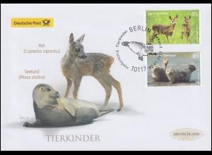 3352-3353 Tierbabys: Reh und Seehund, Schmuck-FDC Deutschland exklusiv