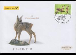 3377 Tierkinder: Rehkitz, selbstklebend, Schmuck-FDC Deutschland exklusiv