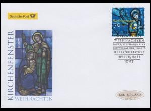 3418 Weihnachten Kirchenfenster, nassklebend, Schmuck-FDC Deutschland exklusiv