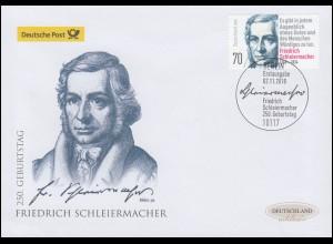 3419 Friedrich Schleiermacher, Schmuck-FDC Deutschland exklusiv