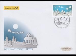 3421 Weihnachtsschlitten, nassklebend, Schmuck-FDC Deutschland exklusiv