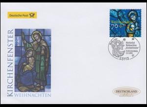 3422 Weihnachten Kirchenfenster, selbstklebend, Schmuck-FDC Deutschland exklusiv